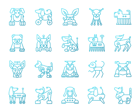 Robot Dog thin line icons set. Outline vector web sign kit of pet. Character linear icon collection includes transformer, machine, cyborg. Color gradient simple robot dog symbol isolated on white