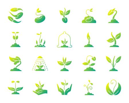 Ensemble d'icônes de silhouette de pousse. Isolé sur le kit de signe web blanc de graines. La collection de pictogrammes végétaux comprend des arbres, des feuilles et de plus en plus. Symbole de dégradé simple. Forme d'icône de vecteur de pousse Vecteurs