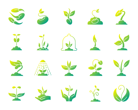 Sprout silhouette icons set. Isolated on white web sign kit of seeds. Plant pictogram collection includes tree, leaves, growing. Simple gradient symbol. Sprout vector icon shape