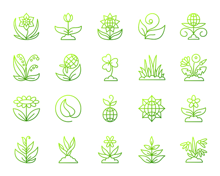 Garden thin line icons set. Outline vector web sign kit of flower. Plant linear icon collection includes green sprout, grass, lily of the valley. Green gradient simple garden symbol isolated on white