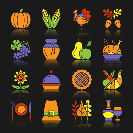 Thanksgiving day color silhouette with reflection icon set. Monochrome flat design vector illustration symbol collection. Simple graphic pictogram pack. Web, print, card, poster, tag, banner concept Illustration