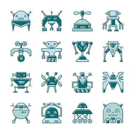 Robot outline with displaced fill icon set. Flat design cute cyborg toy, character ai, mashine transformer, electric technology, robotic. Color web, logo, print concept. Vector sign isolated on white Vectores