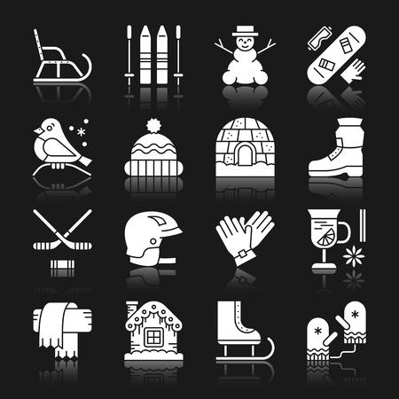 Actividad de invierno, deporte, al aire libre, cierra, divertida silueta blanca con conjunto de iconos de reflexión. Colección de símbolos de diseño plano monocromo. Paquete de pictogramas gráficos simples. Web, concepto de logotipo. Ilustración vectorial