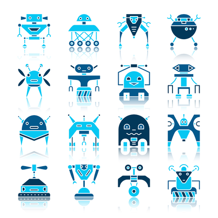 Robot color silhouette with reflection icon set. Transformer flat style collection. Cute cyborg color concept pictogram pack. Web logo print, card machine toys design. Ai sign vector illustration Vectores
