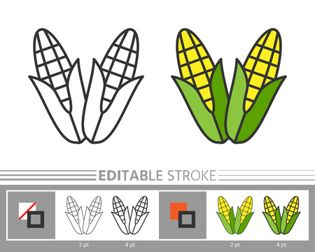 Corn linear icon. Line without and with color fill. Editable stroke, fill, background. Simple outline sign. Web, print, logo, kids or adult antistress coloring page, book design Vector illustration Ilustração