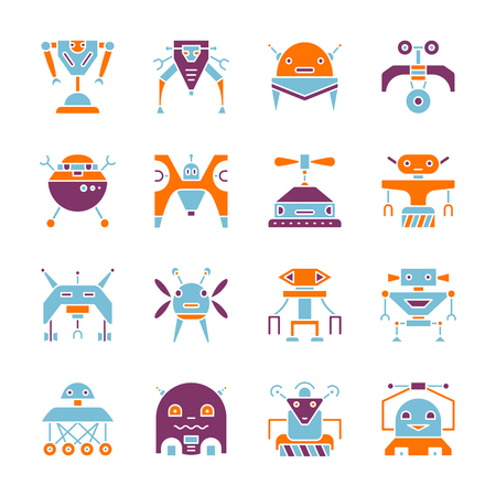Robot color silhouette icon set Household machine flat style symbol collection. Cyborg color sign concept Web, infographic, print, card, machine, toys, ai design vector illustration isolated on white