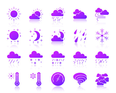 Weather silhouette icons set. Web sign kit of meteorology. Climate monochrome pictogram collection includes barometer, cloud, drizzle. Simple weather symbol with reflection. Vector Icon shape isolated Illustration