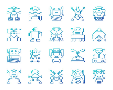 Robot blue thin line icons set. Outline vector web sign kit of toy. Character linear icon collection includes transformer, cyborg, machine. Color gradient simple robot symbol isolated on white
