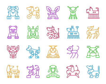 Robot Dog thin line icons set. Outline monochrome web sign kit of pet. Character linear icon collection includes transformer, machine, cyborg. Isolated simple robot dog symbol vector Illustration