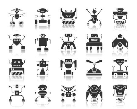Robot silhouette icons set. Monochrome web sign kit of toy. Character pictogram collection includes transformer, cyborg, machine. Simple vector black symbol. Robot shape icon with reflection on white