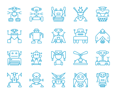 Robot thin line icons set. Outline monochrome web sign kit of toy. Character linear icon collection includes transformer, cyborg, machine. Isolated simple robot symbol vector Illustration