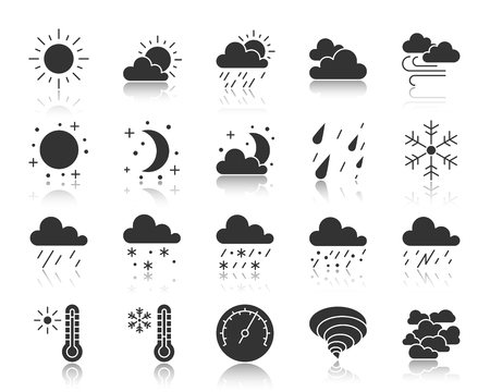 Weather silhouette icons set. Monochrome web sign kit of meteorology. Climate pictogram collection includes windy, cloudy, sunny. Simple vector black symbol. Weather shape icon with reflection