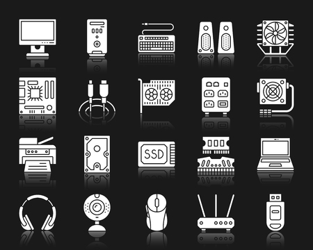 Computer silhouette icons set. Isolated web sign kit of electronics. Gadget pictogram collection includes mouse, printer, webcam. Simple computer symbol with reflection. White vector icon shape Illustration