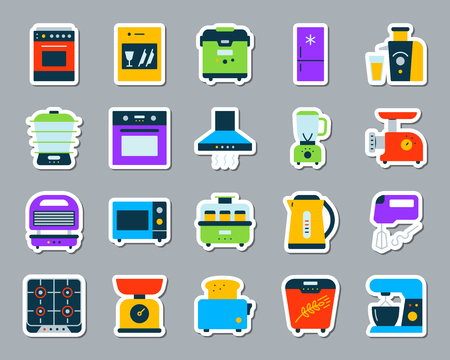 Kitchen Appliance sticker icons set. Web flat sign kit of equipment. Electronics pictogram collection includes gas, toaster, oven. Simple kitchen symbol. Colorful icon for patch. Vector Illustration Illustration