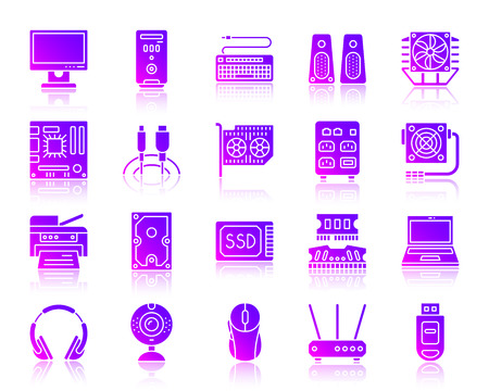 Computer silhouette icons set. Web sign kit of electronics. Gadget ultraviolet pictogram collection includes laptop, modem, headphones. Simple computer symbol reflected. Vector Icon shape isolated Vettoriali