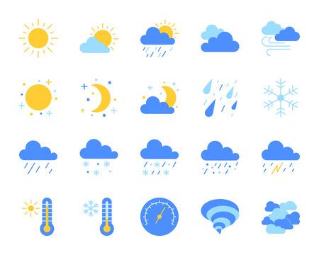 Set di icone piane del tempo. Kit di segni web di meteorologia. La raccolta di pittogrammi climatici include sole, tornado, nebbia. Simbolo variopinto dell'icona del fumetto del tempo semplice isolato su bianco. Illustrazione vettoriale Vettoriali
