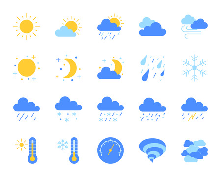 Weather flat icons set. Web sign kit of meteorology. Climate pictogram collection includes sun, tornado, fog. Simple weather cartoon colorful icon symbol isolated on white. Vector Illustration Vector Illustration
