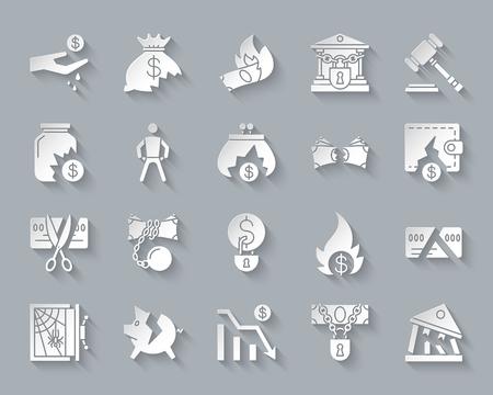 Conjunto de iconos de arte de corte de papel de quiebra. Kit de señalización web de negocios. La colección de pictogramas de crisis incluye pobreza, declive, gráfico. Vector de quiebra simple tallada forma de icono. Símbolo de diseño de materiales