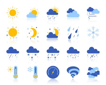 Set di icone piane del tempo. Kit di segno vettoriale Web di meteorologia. La raccolta di pittogrammi climatici include nuvole, neve, pioggia. Simbolo dell'icona colorato tempo semplice con la riflessione isolato su bianco Vettoriali