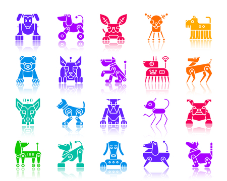 Robot Dog silhouette icons set. Web sign kit of pet. Character monochrome pictogram collection includes transformer, machine, cyborg. Simple robot dog symbol with reflection Vector Icon shape isolated