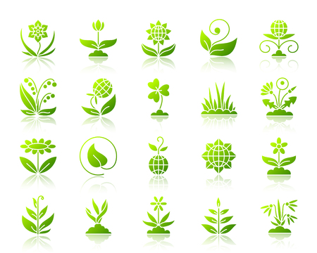 Garden green silhouette icons set with reflection. Color web sign kit of flower. Organic plant vector pictogram collection includes sprout, grass, leaves. Gradient simple garden icon isolated