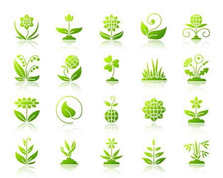 Ogród zielony sylwetka ikony zestaw z odbicia. Kolor web znak zestaw kwiat. Kolekcja piktogramów wektorowych roślin organicznych obejmuje kiełki, trawę, liście. Gradientowa prosta ikona ogrodu na białym tle