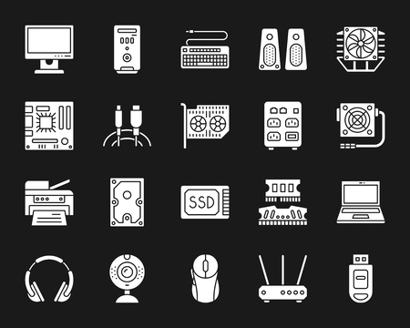 Computer silhouette icons set. Isolated web sign kit of electronics. Gadget monochrome pictogram collection includes pc, motherboard, keyboard. Simple white symbol. Computer vector Icon shape Illustration