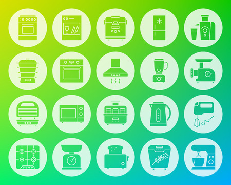 Kitchen appliance icons set. Web sign kit of equipment. Electronics pictogram collection includes juicer, gas, cooker. Simple kitchen vector symbol. Icon shape carved from circle on color background