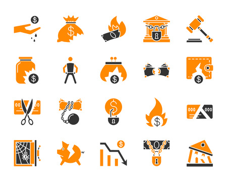 Bankruptcy silhouette icons set. Isolated on white web sign kit of business. Crisis pictogram collection includes recession, poverty, money. Simple bankruptcy symbol. Vector Icon shape for stamp