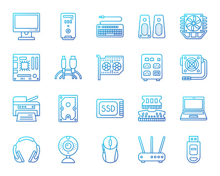 Computer thin line icons set. Outline vector web sign kit of electronics. Gadget linear icon collection includes pc, motherboard, keyboard. Color gradient simple computer symbol isolated on white Illustration
