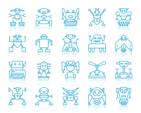 Robot thin line icons set. Outline vector monochrome web sign kit of toy. Character linear icon collection includes transformer, cyborg, machine. Simple robot symbol with reflection isolated on white