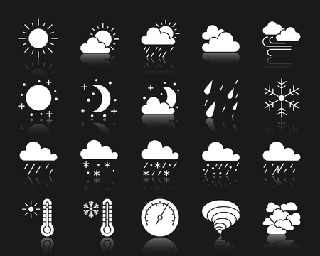 Weather silhouette icons set. Isolated web sign kit of meteorology. Climate pictogram collection includes sun, tornado, fog. Simple weather symbol with reflection. White vector icon shape