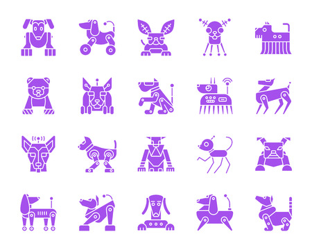 Robot Dog silhouette icons set. Isolated web sign kit of pet. Character monochrome pictogram collection includes transformer, machine, cyborg. Simple robot dog symbol. Vector Icon shape for stamp