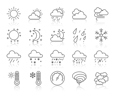 Weather thin line icons set. Outline web sign kit of meteorology. Climate linear icon collection includes cloud, snow, rain. Simple weather symbol with reflection vector Illustration