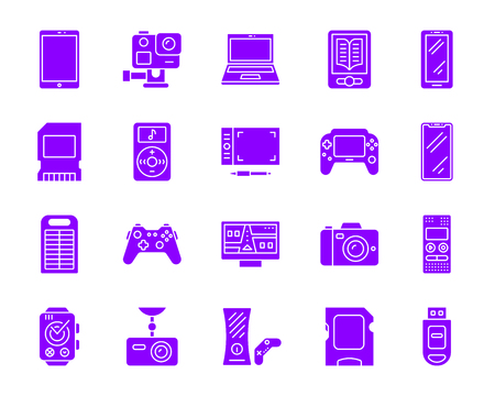 Device purple silhouette icons set. Isolated on white web sign kit of gadget. Electronics pictogram collection includes computer tablet, camera. Simple violet gradient symbol. Device vector icon shape