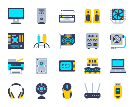 Computer flat icons set. Web sign kit of electronics. Gadget pictogram collection includes mouse, printer, webcam. Simple computer cartoon colorful icon symbol isolated. Vector Illustration