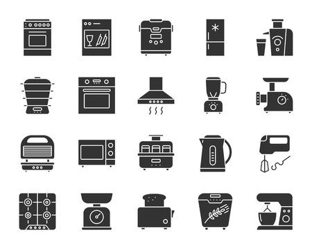 Conjunto de iconos de silueta de aparato de cocina. Kit de muestra web monocromo aislado de equipo. La colección de pictogramas electrónicos incluye gas, tostadora, horno. Símbolo de cocina simple. Forma de icono de vector para sello