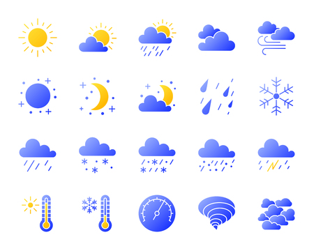 Weather silhouette icons set with reflection. Color web sign kit of meteorology. Climate vector pictogram collection includes wind, blue sky, clouds, yellow sun. Gradient simple weather icon isolated Illustration
