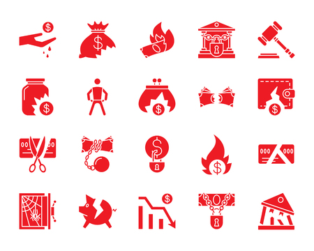 Bankruptcy red silhouette icons set. Isolated web sign kit of business. Crisis monochrome pictogram collection includes debt, court, problem. Simple bankruptcy symbol. Vector Icon shape for stamp Standard-Bild - 104948772