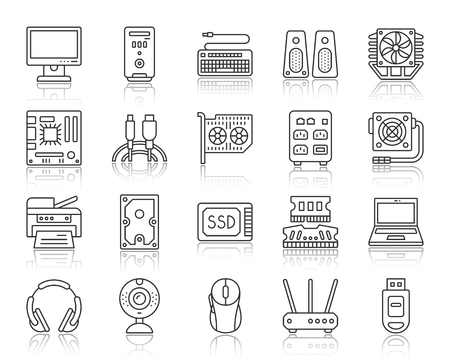 Computer thin black line icons set. Outline web sign kit of electronics. Gadget linear icon collection includes usb, flash, cable. Simple computer symbol with reflection vector Illustration