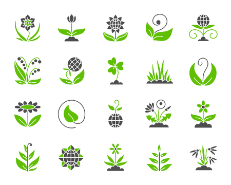 Garden silhouette icons set. Isolated on white web sign kit of flower. Plant pictogram collection includes chamomile, tulip, narcissus. Simple green and black garden symbol Vector Icon shape for stamp