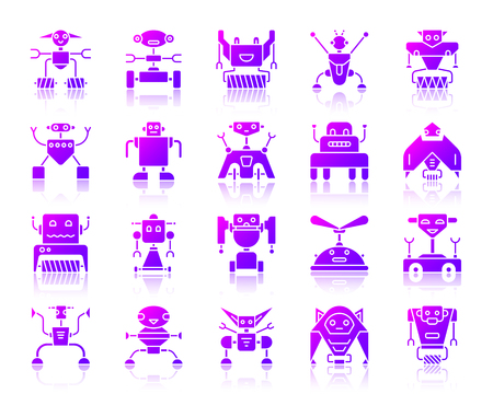 Robot purple silhouette icons set with reflection. Color web sign kit of toy. Character vector pictogram collection includes transformer, cyborg, machine. Violet gradient simple robot icon isolated Illustration