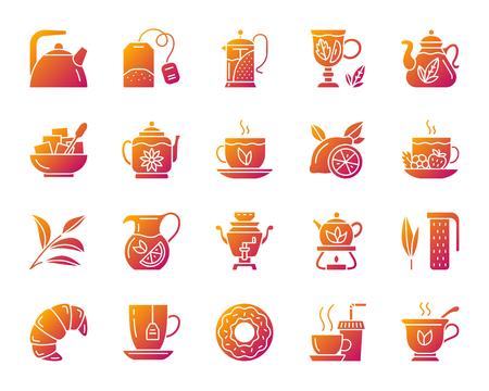 Set di icone della siluetta del tè. Isolato sul kit di segno web bianco della tazza. La raccolta di pittogrammi per l'ora del tè include bustina di tè, limone, croissant. Simbolo di contorno semplice gradiente moderno. Forma di icona di vettore di tè Vettoriali