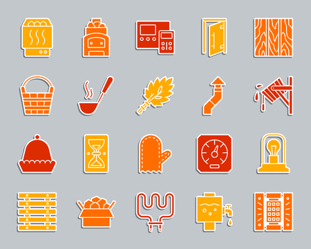Sauna equipment silhouette sticker icons set. Sign kit of bathhouse. Spa pictogram collection includes hourglass, headrest, glass door. Simple sauna vector icon shape for badge, pin, patch, embroidery Banque d'images - 105259860