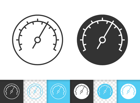Barometer black linear and silhouette icons. Thin line sign of meter. Speedometer outline pictogram isolated on white, color, transparent background. Vector Icon shape. Barometer simple symbol closeup