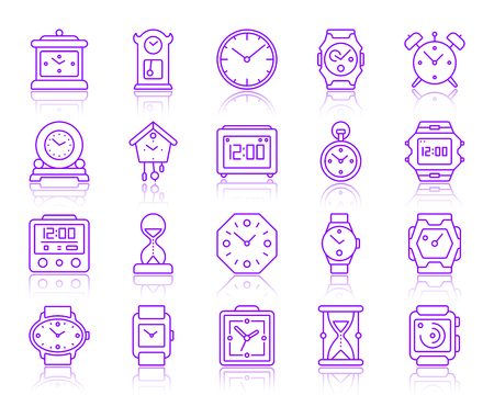 Watch thin line icons set. Outline vector sign kit of alarm clock. Clock linear icon collection includes screen, chronometer, timer. Simple watch color contour symbol with reflection isolated on white
