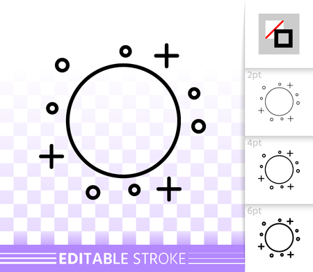 Full Moon thin line icon. Outline web sign of moonlight. Night linear pictogram with different stroke width. Simple vector symbol, transparent background. Full Moon editable stroke icon without fill