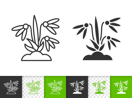 Snowdrop black linear and silhouette icons. Thin line sign of flower. Organic Plant outline pictogram isolated on white, color transparent background. Vector Icon shape. Snowdrop simple symbol closeup