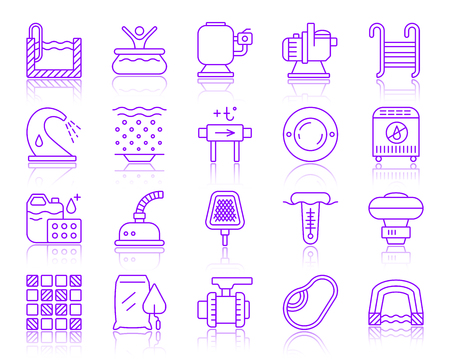 Swimming pool equipment thin line icons set. Outline vector sign kit of construction. Repair linear icon collection includes bowl, filter, pump. Simple pool symbol with reflection isolated on white