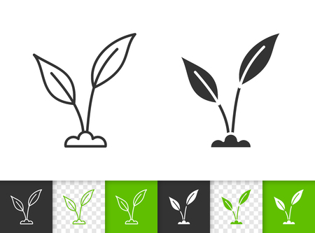 Green leaves black linear and silhouette icons. Thin line sign of sprout. Grass outline pictogram isolated on white, color, transparent background. Vector Icon shape. Green leaf simple symbol closeup Ilustração